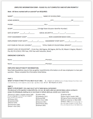 CALPADS Employee Information Form