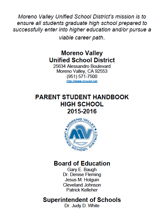 Moreno Valley Unified School District S 2015 2016 High School Parent